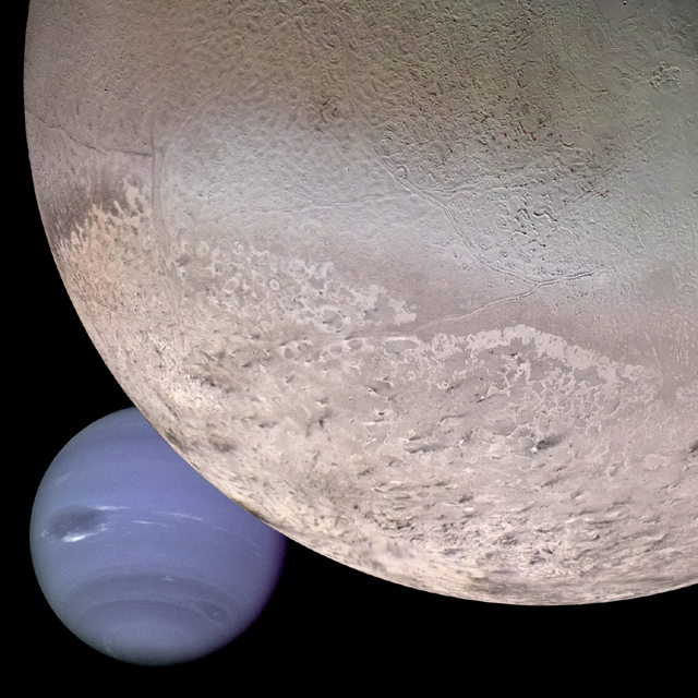 Computer enhanced composite Image of Neptune and Triton courtesy of NASA