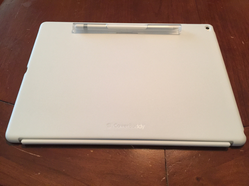 Back view of the iPad Pro with the CoverBuddy and Apple Pencil attached