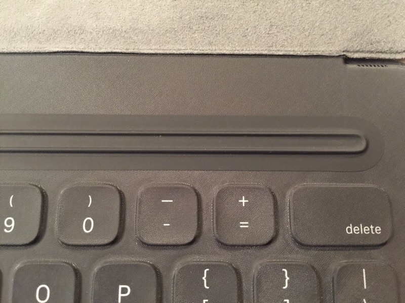 A closeup of the attach groove at the top of the Smart Keyboard