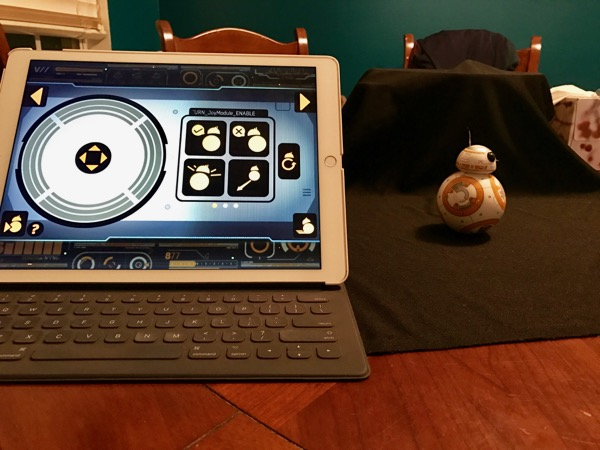 My setup of recording a short video of my BB-8 Sphere in action. My iPad Pro was the controller and my iPhone 7 took the still photo/Live Photo.