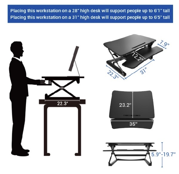 Measure your existing desk space and make sure you get the right size standing desk