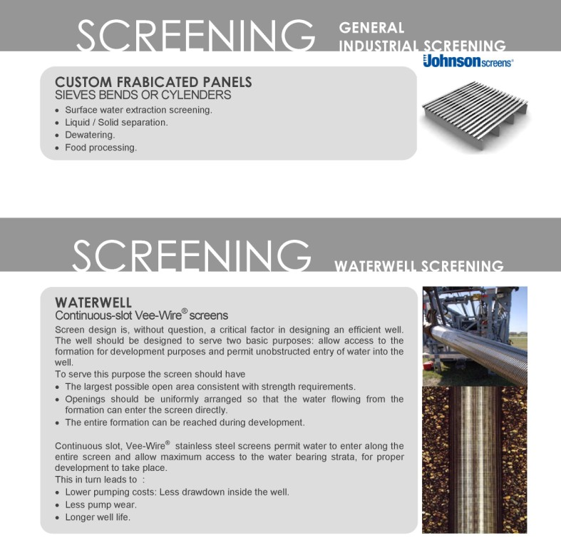 Johnson General Industrial Screening and Waterwell Screening