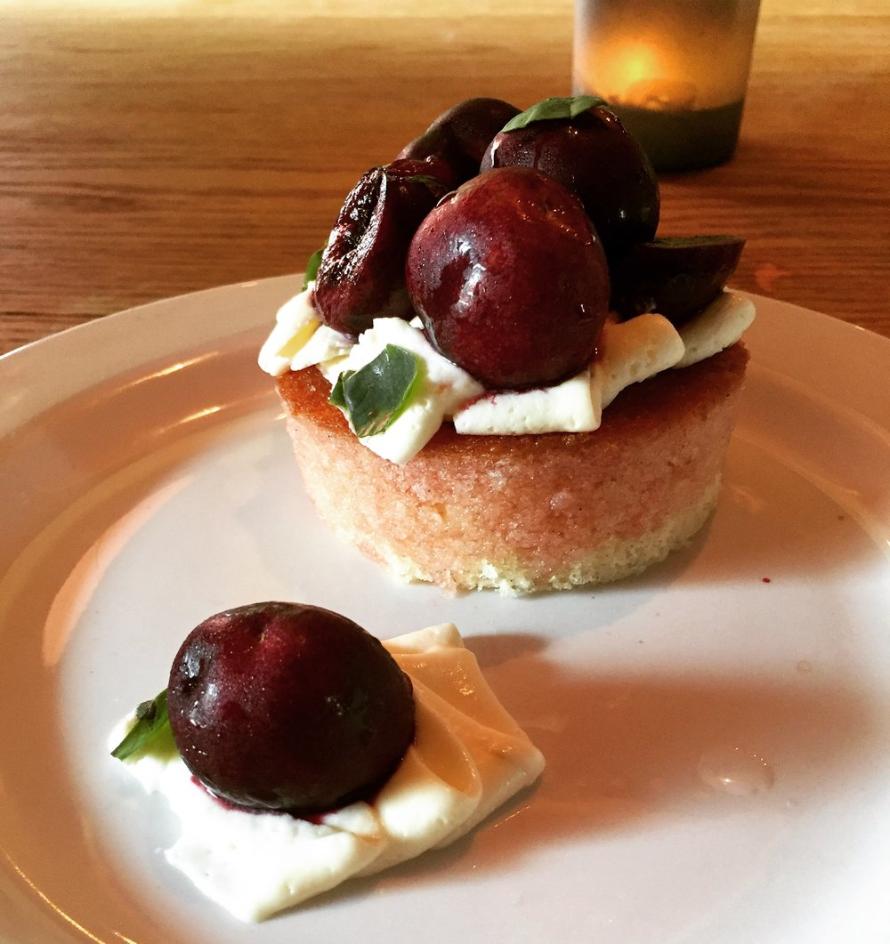 Hot Milk Cake, Creme Fraiche, and Poached Cherries