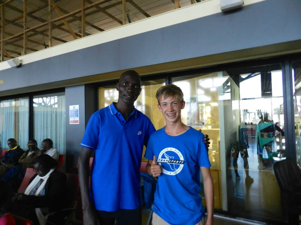 One of our travelers meets Asbel Kiprop in 2014 at the Eldoret Airport.