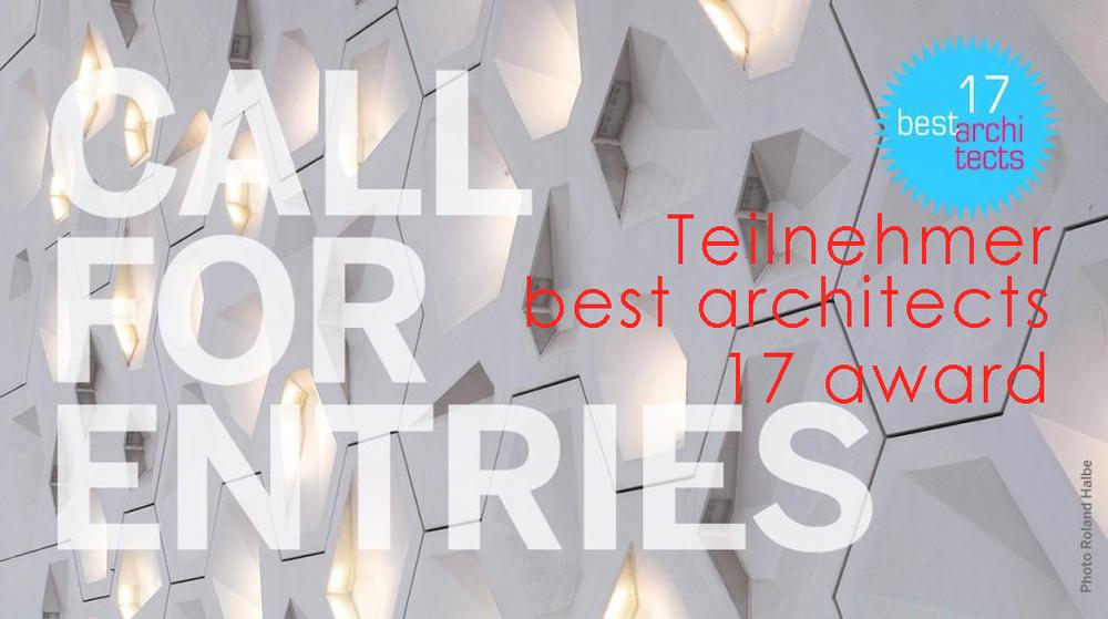 """Wie jedes Jahr findet der """"best architects Award"""" europaweit statt. Eine hochkarätige internationale Jury prämiert aus einer Vielzahl von hochwertigen Projekten die Besten. Der """"best architects Award"""" zählt zu einem der wichtigsten Ereignissen in der internationalen Architekturszene. Auch das Planungsbüro i21 nimmt an diesem Wettbewerb mit einer ausgewählten Arbeit teil und freut sich auf die Nominierung."""