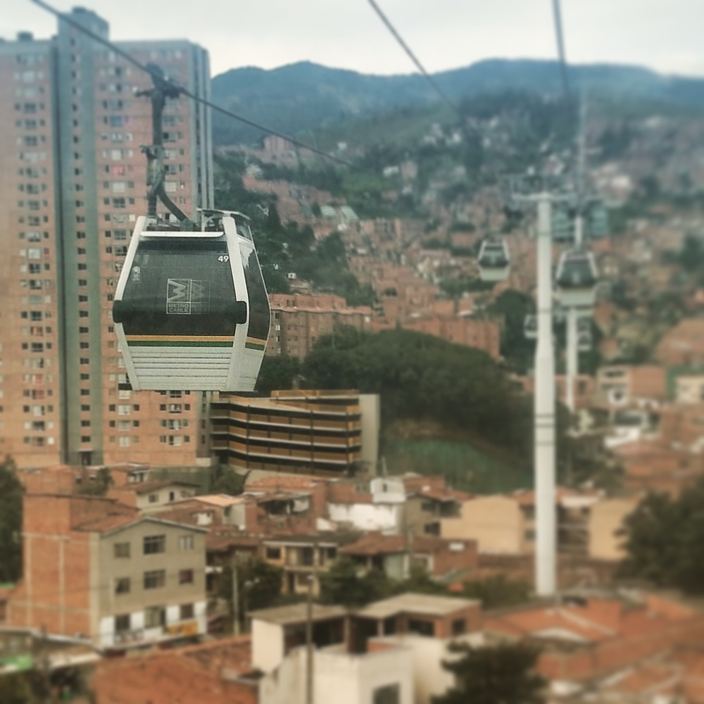 Public transportation MetroCables built in Medellin as a safe way for kids to get to/from school without having to walk through the streets