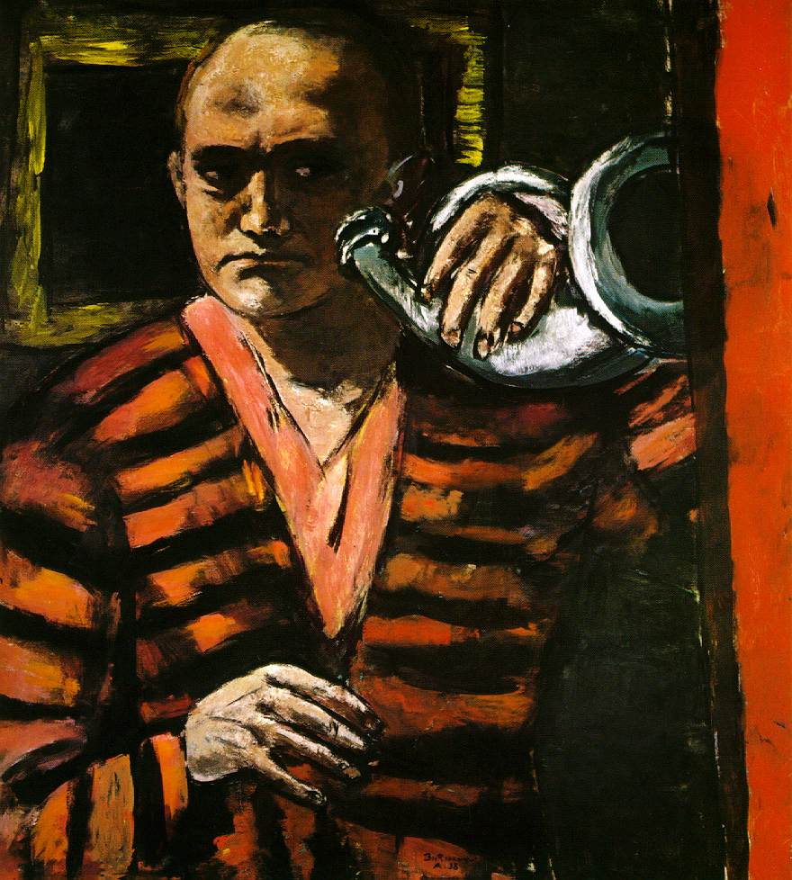 "Max Beckmann, ""Self-portrait with Horn"" (1938)"
