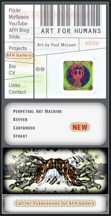 Art for Humans navigation interface, ca. 2006