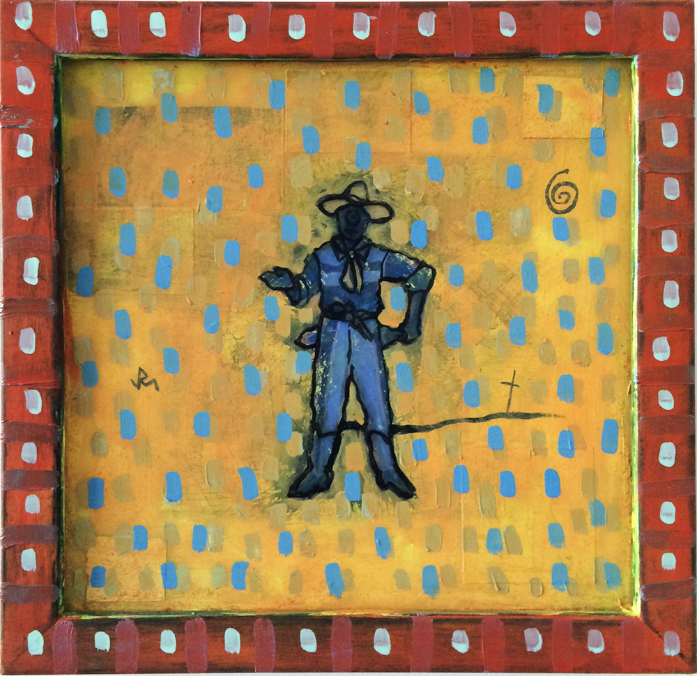 """COOL DEPUTY""; 10.25"" X 10.25""; Acrylic paint, ink, silver tape, woodblock print, digital prints (on canvas and adhesive paper), Plexiglas and frame (fixative, varnish layers); 2013 (1997-2013)"