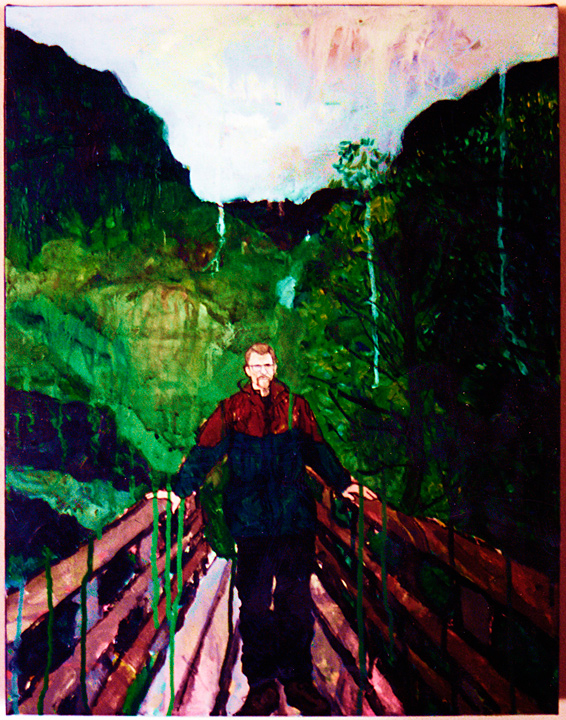 "[""Autoportrait (Glencoe, 1995)""] Acrylic and ink on canvas, from the series, ""Where my Feet Stick to the Ground"""