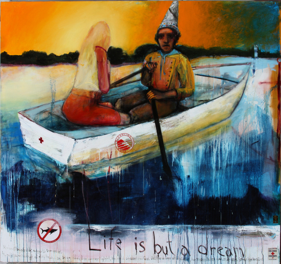 Royal Nebeker,  Ship of Fools , 2013, from the  Loss and Revelation  series [Oil and collage on canvas, 84 x 90 inches ( LINK )]