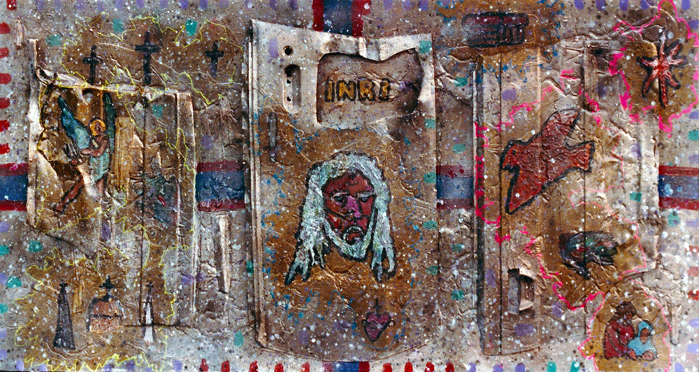 God 8' x 4' Mixed media [plywood, car door lining, acrylic paint, found materials + more] 1985