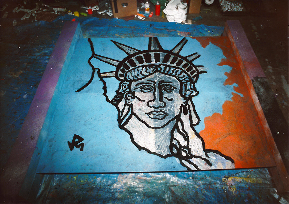 "Liberty 6' x 6' Mixed Media [1/4"" steel, railroad ties, acrylic paint, barbed wire, spray paint + more] 1986 (Process photo)"
