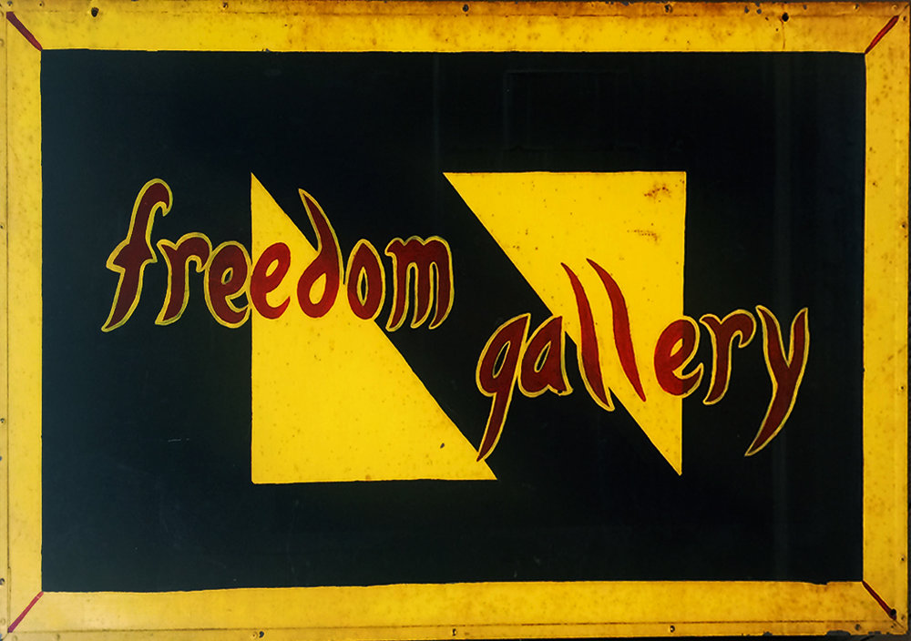 Enamel on metal, hand-painted sign (PJM, 1998)