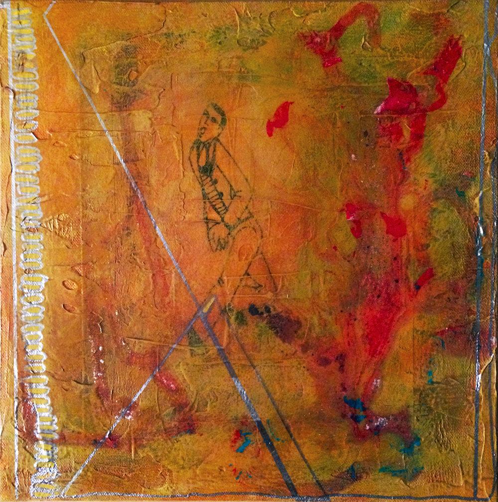 """""""Thunder Dreamer"""" Mixed Media on Canvas 12"""" x 12"""" 2006 $1800"""