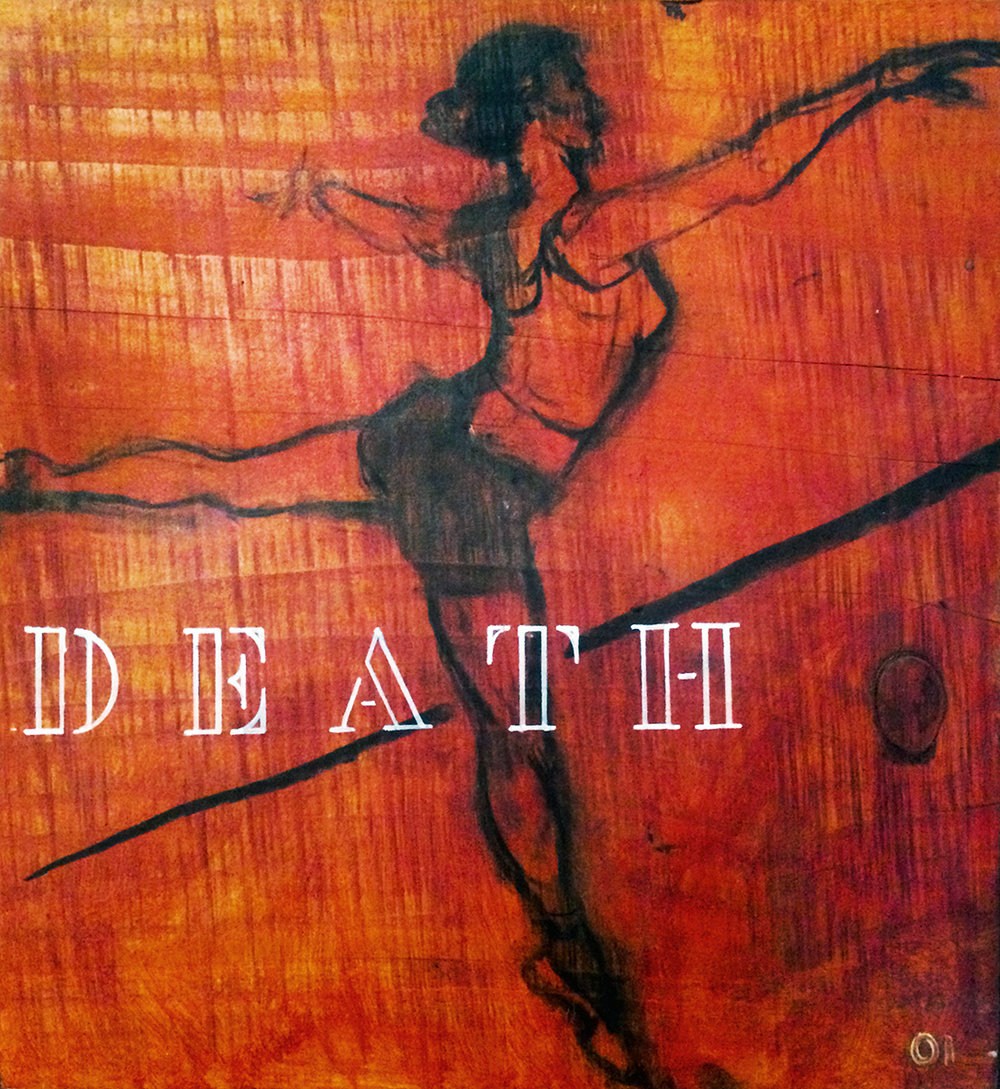 """'DEATH' Is a Word [Dancing]"" Charcoal, Quin. Red-Gold, Oil Pen on Redwood 17"" x 15"" x 2"" 2004 $2100  Created during Morris Graves Studio Residency and exhibited in ""Bar Codes + Rituals + Subliminal Tapes. Ballerina figure (Molly) was drawn from photo data session hosted by Beckley Dance Theatre School (2003). ""DEATH is a Word"" was exhibited in ""Barcodes, Rituals + Subliminal Tapes,"" in AFHG/Eureka, a program sponsored by Morris Graves Foundation, Ink People Center for the Arts and Riverwind LLC."
