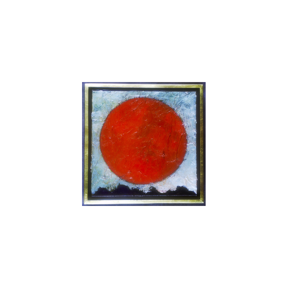 """Title: """"Red Sun"""" [In Sickness & In Health] Medium: Acrylic and ink on canvas Dimensions: 12"""" x 12"""" (Unframed) Date: 2000 SOLD"""