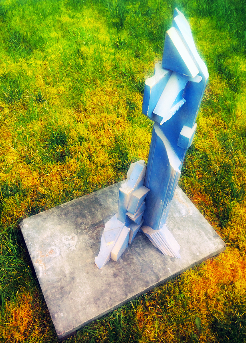 """""""Did the Deer See This?"""" ∞ """"Blue Rocket"""" Gesso on Wood Construction, Lead-wrapped Wood Variable dimensions 1995 $3000"""