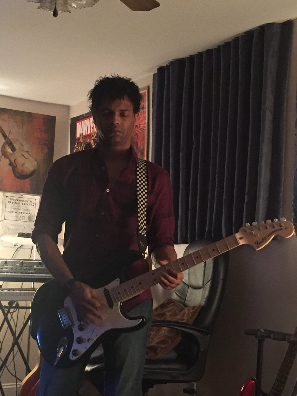 Christian Imes practicing with his Billy Corgan signature Fender Stratocaster