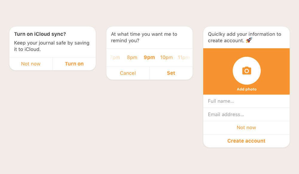 Examples of different conversation widgets for different inline actions
