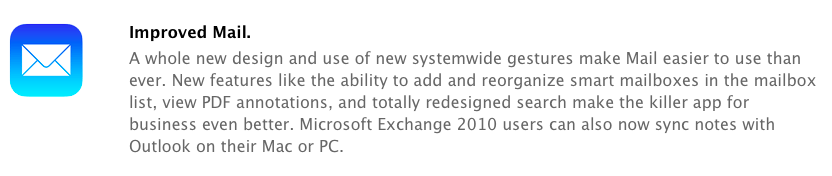 Microsoft Exchange 2010 users can also now sync notes with Outlook on their Mac or PC.