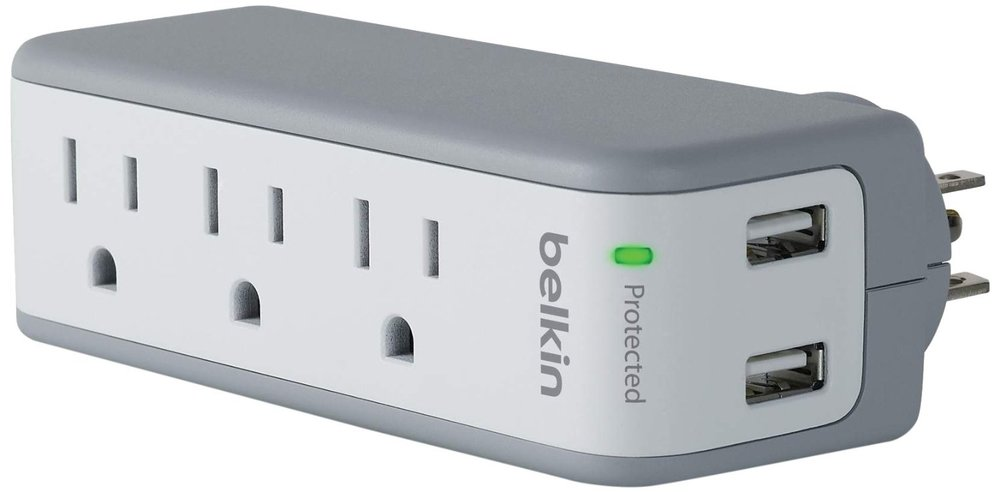 Belkin SurgePlus 3-Outlet Mini Travel Swivel Charger Surge Protector with Dual USB Ports (2.1 AMP / 10 Watt)
