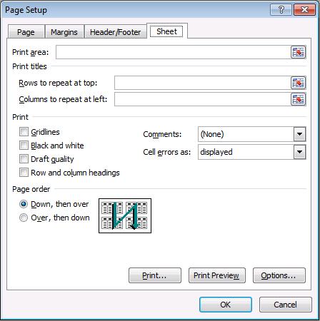 Page Setup Dialog Box, Sheet tab.