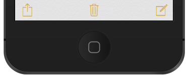 Share button (left), Delete button (center), Compose button (right)