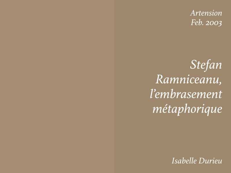 Essays — Stefan Ramniceanu l'embrasement métaphorique, Isabelle Durieu