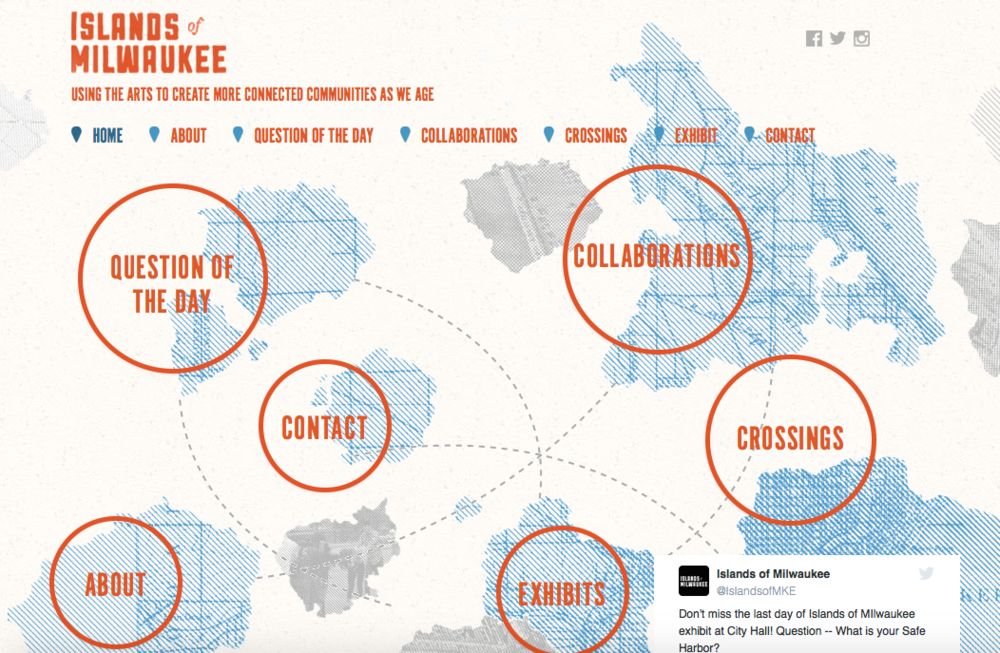 Website for Islands of Milwaukee project with Sojourn Theatre.