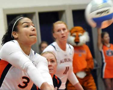 Auburn Outside Hitter,Sarah Bullock had 10 digs against Alabama to move her in to seventh place on the Tigers all-time list with 1,005.