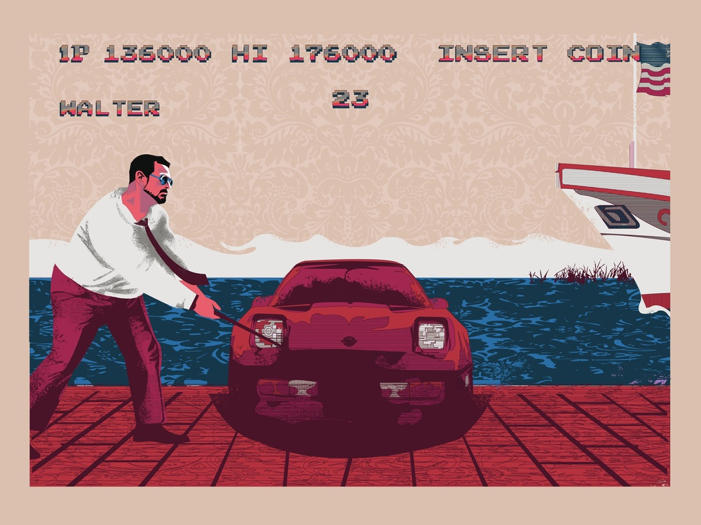 """That's What Happens When You Find A Stranger In The Alps Gallery 1988 """"Old School Video Game Art Show Level 2"""""""