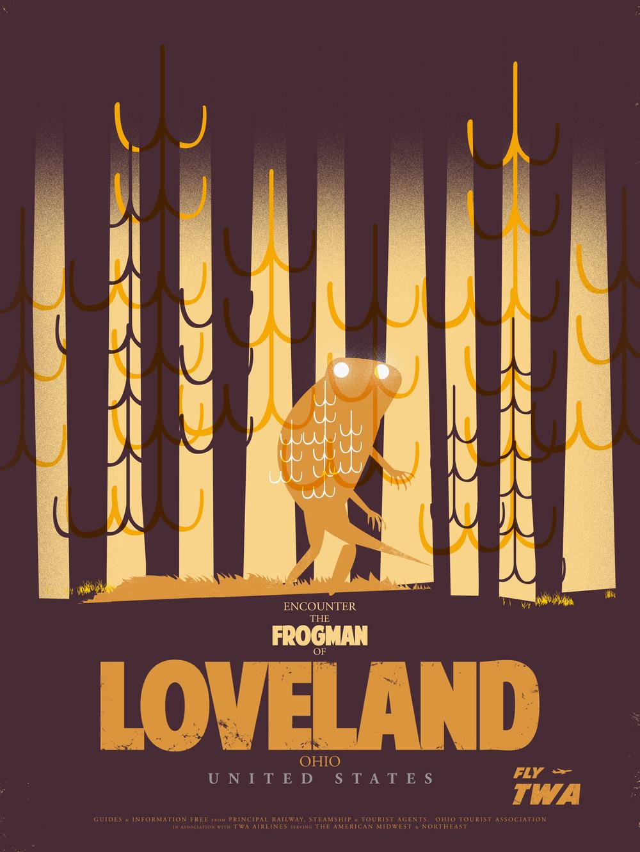 Travel Posters- Frogman of Loveland $35