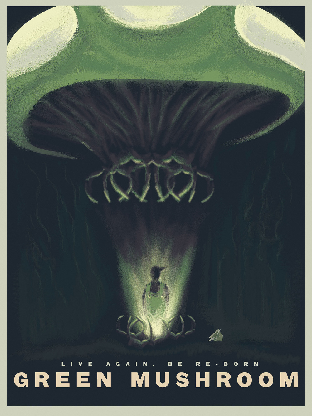 "Green Mushroom 18"" by 24"" Giclee print Hand SIgned & Numbered Limited Run of 100 30.00 USD"