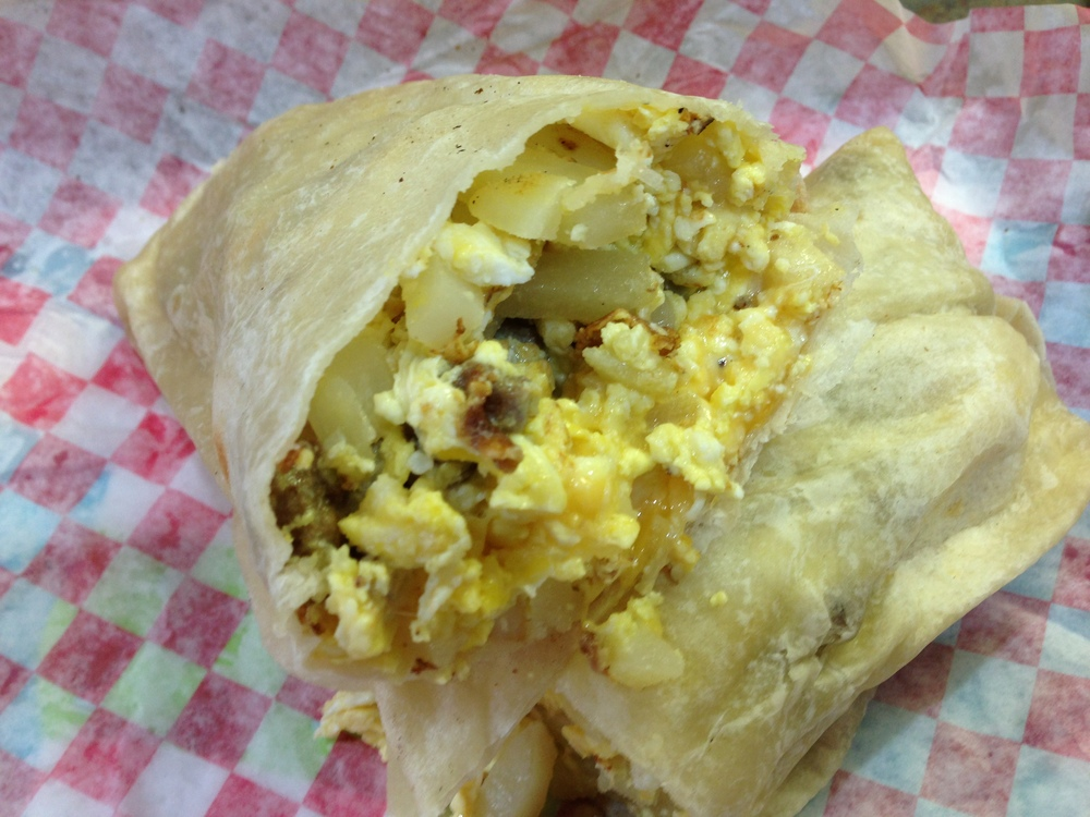 Sausage, Egg, Cheese, and Potato Burrito