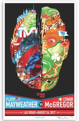 Floyd Mayweather Jr. vs Conor McGregor Boxing Match Fight Poster Screen Print by Tristan Eaton.jpg