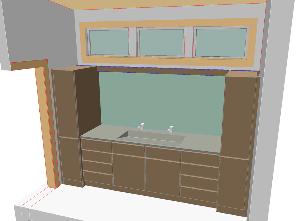Custom Master Bath: Custom millwork with a custom countertop and  concrete sink  design.
