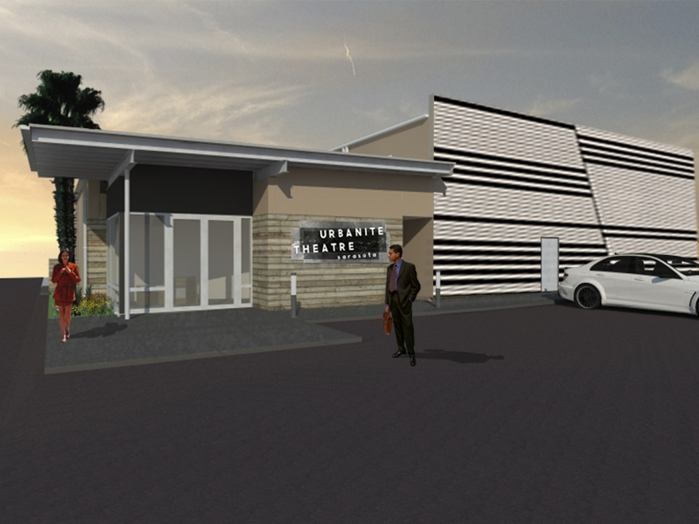 Rendering of the new black box theater I designed recently. The strong pattern to the right is a placeholder for a future wall mural currently in the design phase.