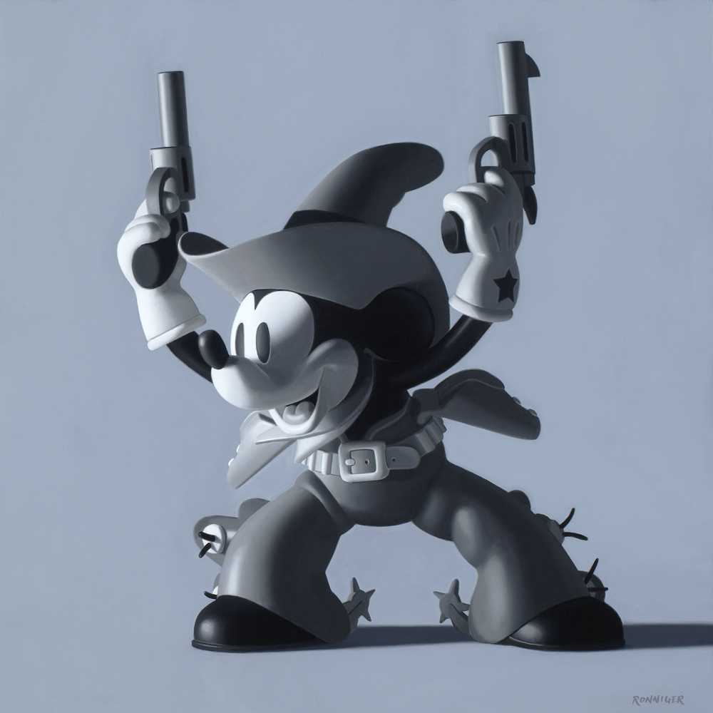 Two-Gun Mickey, 12 x 12 Inches, Oil on Panel