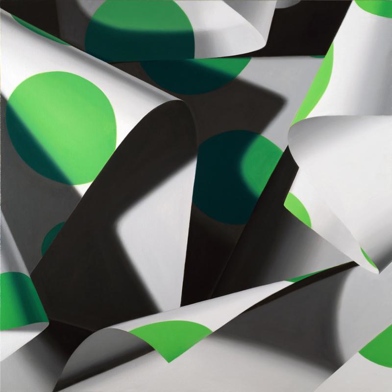 "Green Dot No. 2, oil on linen, 18"" x 18"""