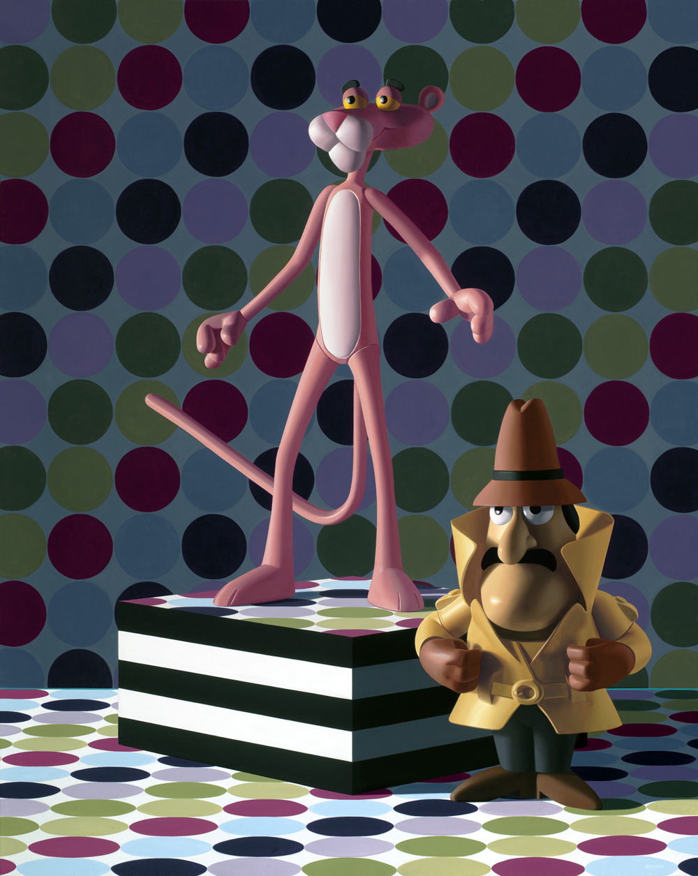 Pink Panther and Inspector Clouseau, oil on linen, 60 x 48 inches