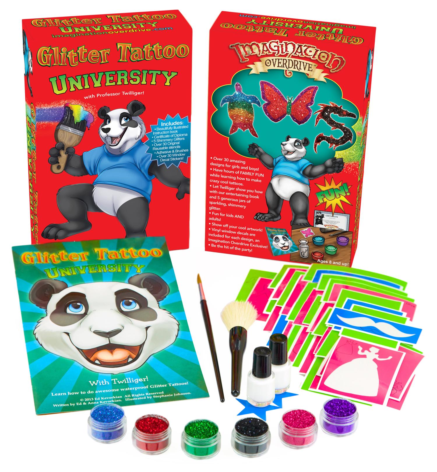 Glitter Tattoo University Jumbo Starter Kit - OVER 30 Stencils, More ...