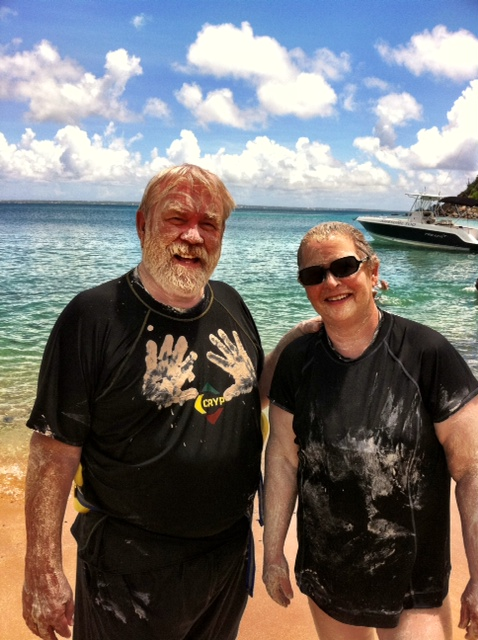 A mud bath on the beach. Warm water just an easy walk from the boat. Saw manta ray and barracuda snorkeling. The manta and barracuda weren't snorkeling. We were.  ------------  ariek@mac.com
