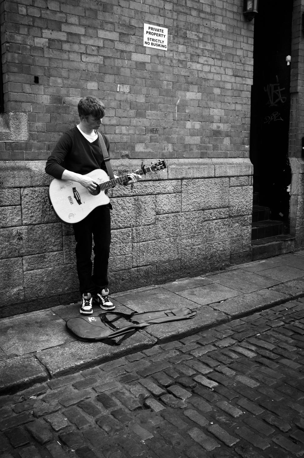 A busker in Dublin