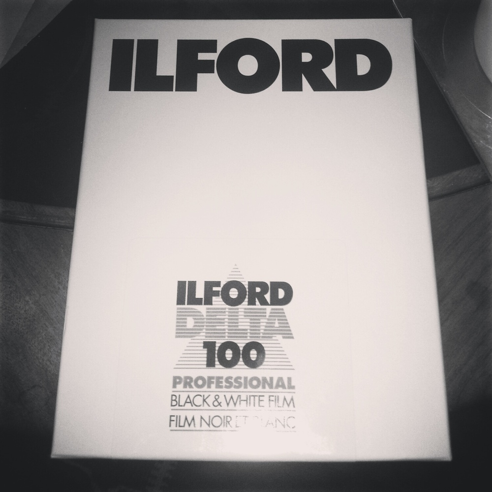 5x4 Ilford black and white film.