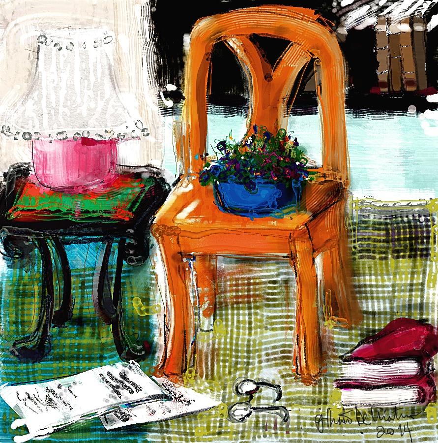 Orange chair in my studio