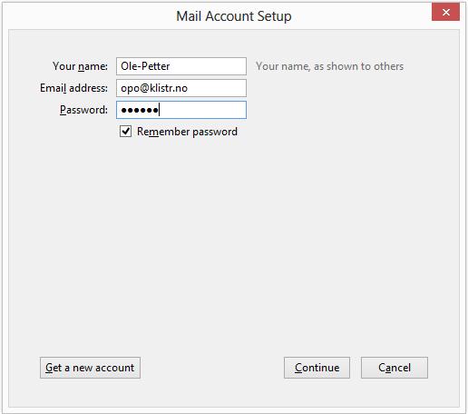 """Så kommer vi til det viktige. Fyll inn ditt navn, din epostadresse og ditt passord. Når du er ferdig klikker du på """"continue""""."""