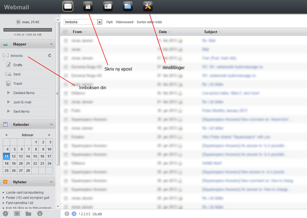 Les og skriv e-post fra nettleseren.