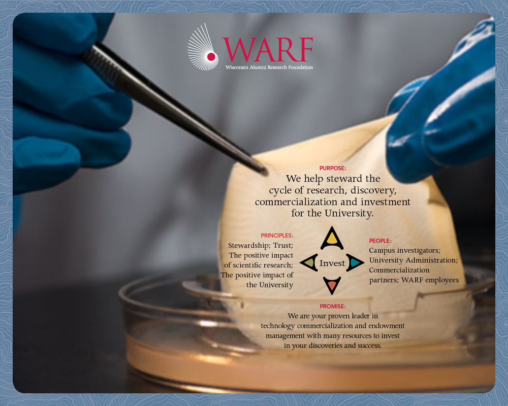 (Click to enlarge)   A MAP to stewardship    This strategy and purpose-led brand platform provided the coordinates for creating the WARF MAP, which serves as a guide for them to help steward the cycle of research, discovery, commercialization and investment.