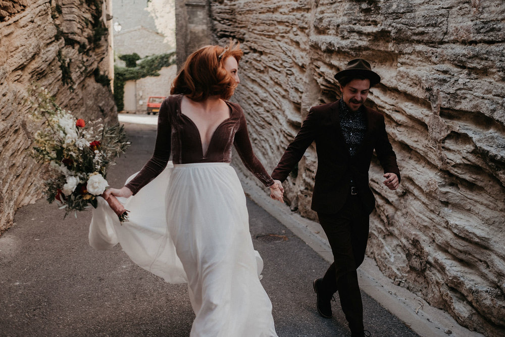 goult provence france elopement vow renewal couple running photo